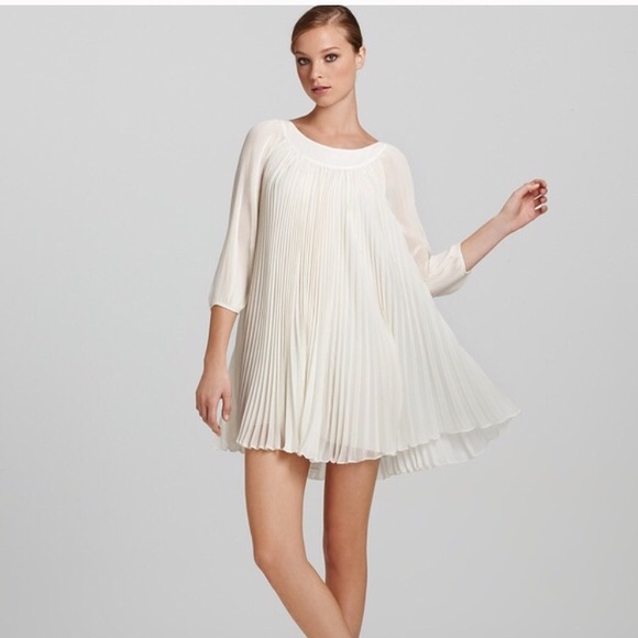 9058bce727d ERIN Erin Fetherston Pleated Silk Dress ivory